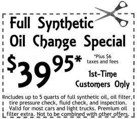 1st time full-synthetic oil change special