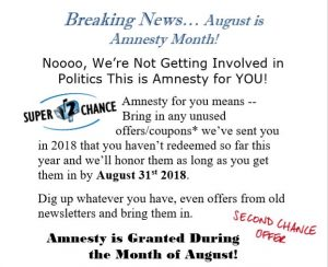 amnesty month - 2nd chance on our 2018 coupons